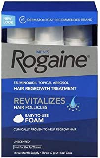 Men's Rogaine Extra Strength 5% Minoxidil Topical Aerosol Hair Regrowth Treatment Foam 3 Month Supply Each Can 6.33 OZ (Pack of 6)
