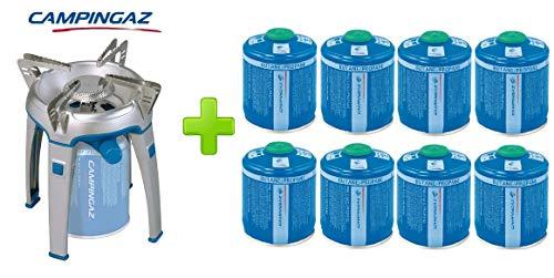 ALTIGASI Réchaud à gaz Bivouac Campingaz Puissance 2600 W avec Sac de Transport - Système de Cartouche Amovible + 8 Cartouches à gaz CV470 de 450 g