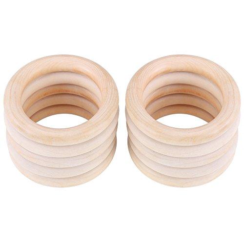 Baby Beißringe Natürliche Hölzern Ringe Unvollendete Zahnen Ringe für Babys Kinderpflege 10 Stück (Paket wurde aktualisiert)