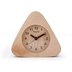 Henghui Solid Wood Non Ticking Analog Quartz Alarm Clock with Nightlight, Snooze and Ascending Sound Alarm (Natural Wood, Triangle)
