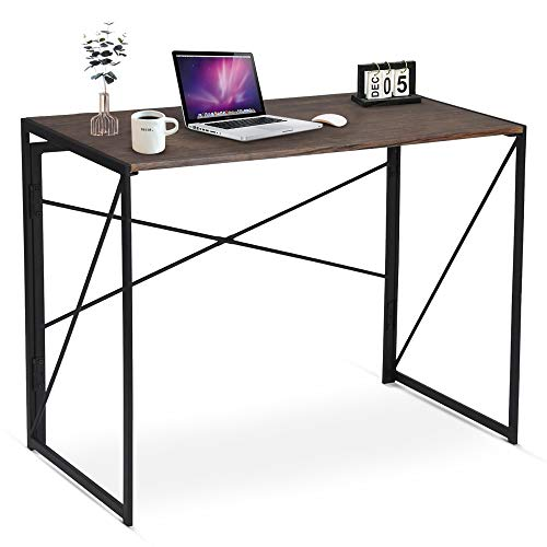 Folding Computer Desk Table, Compact Foldable Home Office Computer PC Laptop Workstation Desk Table for Home Office, Wood & Metal, Brown Black