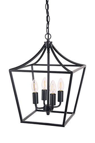 Homenovo Lighting Marden 4-Light Chandelier, Industrial Style Lighting for Entryway,Hallway and Dining Room - Matte Black Finish