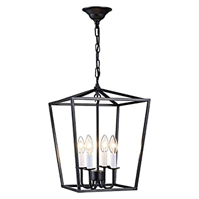 ANJIADENGSHI Lantern Pendant Light Industrial Vintage Lantern Iron Cage Hanging with 4 E12 Bulbs Lantern Chandelier for Traditional Dining Room Bar Cafe, Matte Black