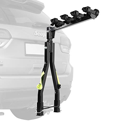 CD Quick Release Bike A Frame Twin Pole Rack Tow Ball Hitch Trailer Mount - Car SUV Truck Carrier 4 x Bicycle - Heavy Duty Sturdy Rust Proof