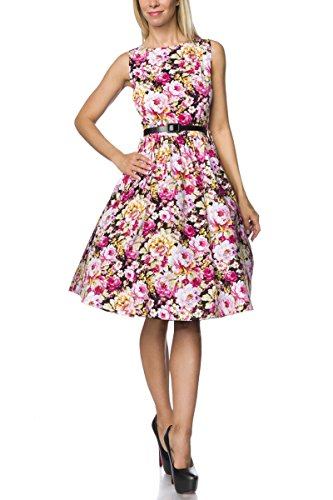 Atixo Vintage-Kleid mit Gürtel - schwarz/gemustert, Größe:2XL