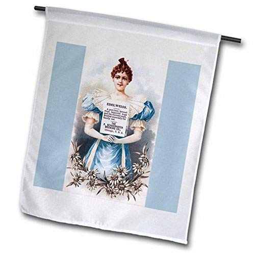 3dRose FL_180198_2 Edelweiß-Bier mit viktorianischer Dame in Blau mit weißen Blumen, Gartenflagge, 45,7 x 68,6 cm