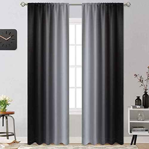 Yakamok 84 Inch Length Room Darkening Ombre Curtains for Bedroom, Rod Pocket Light Blocking Thermal Insulated Gradient Color Curtains for Living Room(Black and Greyish White, 2 Panels,52W x 84L Inch)