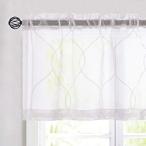 jinchan Sheer Embroidered Valance for Kitchen Room Girl Floral Weave Pattern Window Treatment 1 Panel 16 inch White