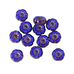 Raven's Journey Czech Glass Beads, Hibiscus Flower 9mm, Royal Blue Silk with Bronze Finish, 1 Strand