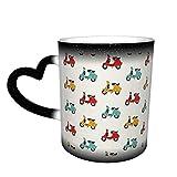 Vespa - Tazza da caffè con stampa personalizzata fai da te in ceramica, sensibile al calore caldo e al calore