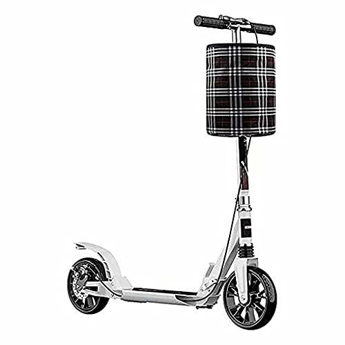 wunderschönen Erwachsener, faltender Roller mit großen Rädern und Handbremsen, doppelstiftender Pendler-Roller mit Lagerkorb und Glocke, Last 150 kg (schwarz) (Color : White)