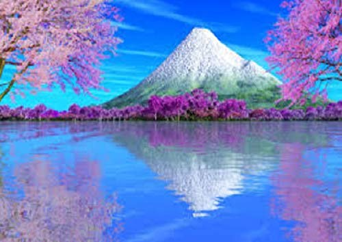 A3 春の雪山のダイヤモンドアートを便利バックでお届け!/no.4-56日本製額縁ぴったりサイズ/全面貼り付け/四角型(Square)/ビーズアート 手芸キット