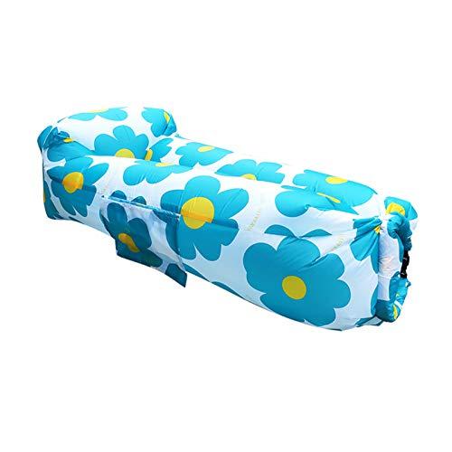 XUE-SHELF Ergonomische Aufblasbare Lounger Strand Bett Camping Stuhl Air Sofa Couch Hängematte mit Kissen, Wasserdicht Anti-Air Undichte einlagige Nylongewebe,Summer Sun Blue