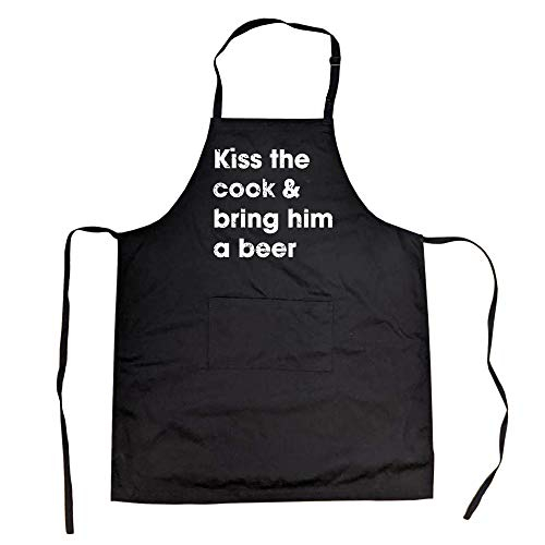 Crazy Dog Tshirts - Cookout Apron Kiss The Cook and Bring Him A Beer Backyard BBQ Smock (Black) - Black; One Size -