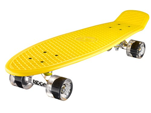 Ridge Skateboards 27 Inch Big Brother Retro Mini Cruiser Nickel Skateboard - UK Vervaardigd - geel, klar
