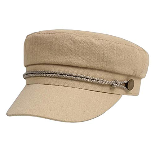 YDY Boina para mujer de otoño e invierno de color sólido elegante temperamento octogonal gorra sombreros de artista coreano moda boina sombreros de línea caqui, talla única