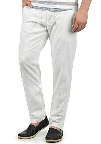 Blend Bonavo Herren Leinenhose Sommerhose Lange Stoffhose In Leinen-Optik Aus 100% Baumwolle Regular Fit, Größe:3XL, Farbe:White (70002)