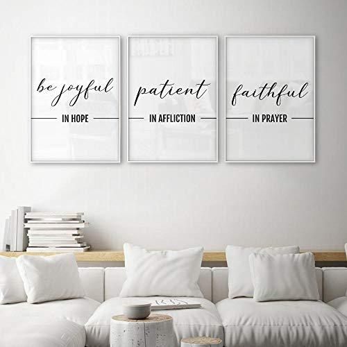 woplmh Seien Sie in der Hoffnung fröhlich Patient im Gebrechen Treu im Gebet Christliche Wandkunst Bibelverse Zitate Poster und Drucke Leinwand-40x60cmx3 / ohne Rahmen