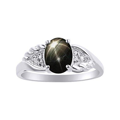 Diamond & Black Star - Juego de anillos de zafiro en oro blanco de 14 quilates, diseño de alas de diamante