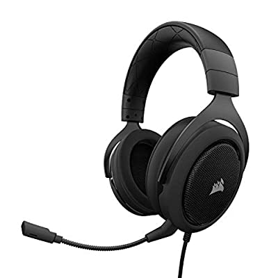 Corsair HS50 Stereo Gaming Headset (Unidirectional Noise Cancelling, Optimised Unidirectional Microphone, On-Ear Control with PC, Xbox One, PS4, Nintendo Switch and Mobile Compatibility) - Carbon