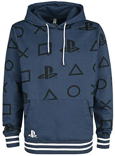 Playstation Icons Männer Kapuzenpullover blau XL 100% Baumwolle Fan-Merch, Gaming