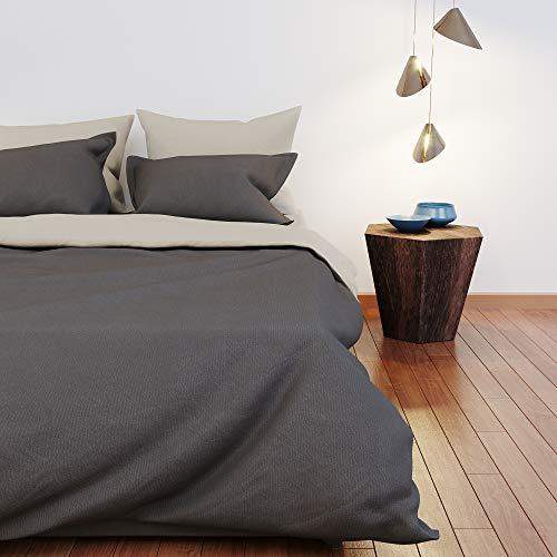 Dreamzie - Bettwäsche 230x220cm - Wendebettwäsche 100% Baumwolle Oeko TEX - Beige + Grau - Bettdeckenbezug und 2 Kissenbezüge 50x75 cm