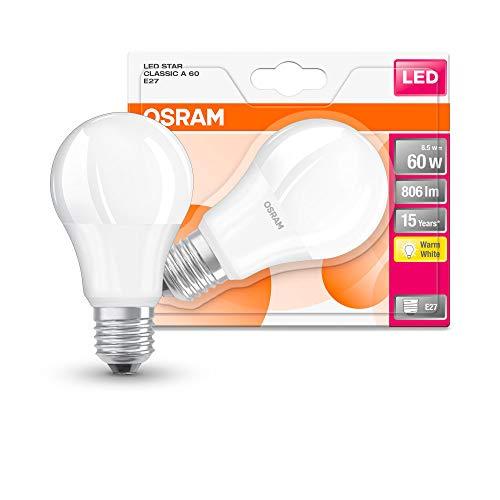 Osram LED STAR Ampoule LED, Forme Classique, Culot E27, 9W Equivalent 60W, 220-240V, dépolie, Blanc Chaud 2700K, Lot de 1 pièce