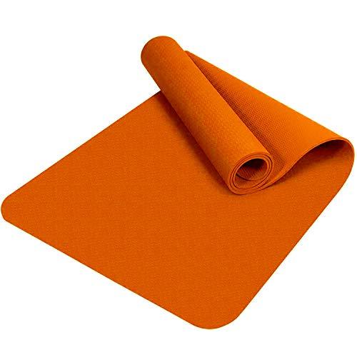 Good Times Yogamatte, rutschfest, TPE, umweltfreundlich, hypoallergen, hautfreundlich, Gymnastikmatte, Fitnessmatte, Sportmatte, Bodenmatte mit Tasche & Trageband, 183x61x0,8cm (Orange)