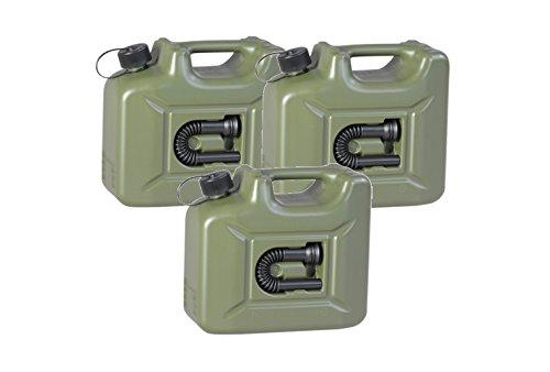 3er Set: 3x Benzinkanister PROFI 10 Liter oliv (grün) ARMY Kraftstoffkanister 10L