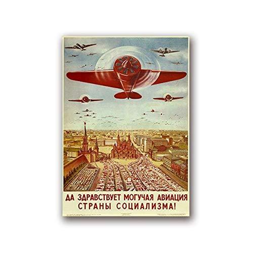 Russische Vliegtuig Lithograph Vintage Poster Art Canvas Home Wall Art Print schilderij Retro Foto voor Woonkamer Decoratie (40x60cmx1 / geen Frame)