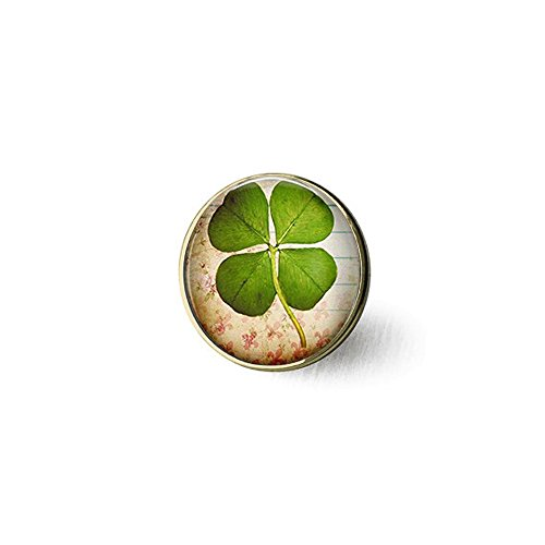 hars nijiahx Four Leaf Clover Jewelry, Lucky Clover Leaf Brooch, Good Luck Jewelry, Shamrock Brooch, Clover Brooch, Saint Patrick's Day Jewelry