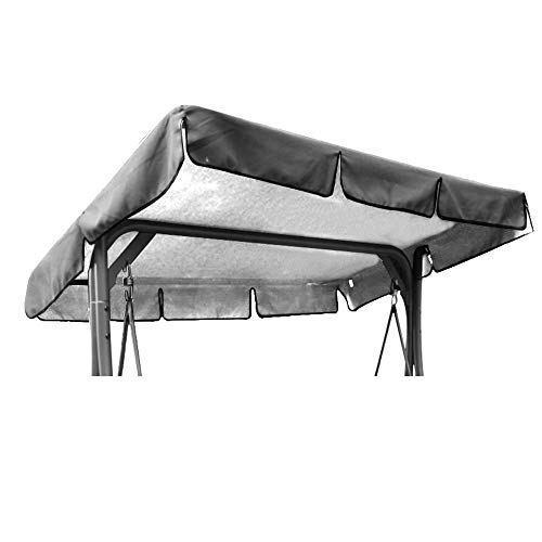 OUNUO Replacement Canopy for Swing Seat Chair, Universal Coloured Replacement Roof Cover Patio Hammock Cover Top Garden Outdoor (195 * 125 * 15cm, Grey)