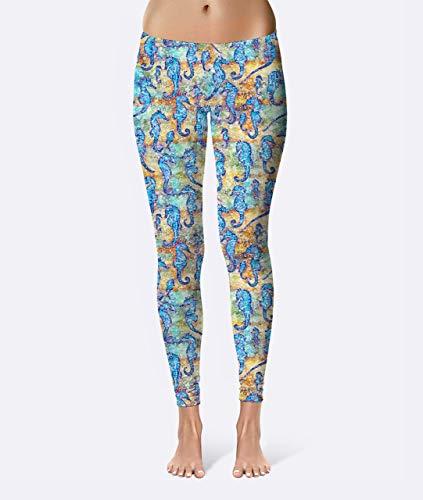 Batik Sea Horses Premium Women's High Waist Leggings featuring original design by Artist Dan Morris