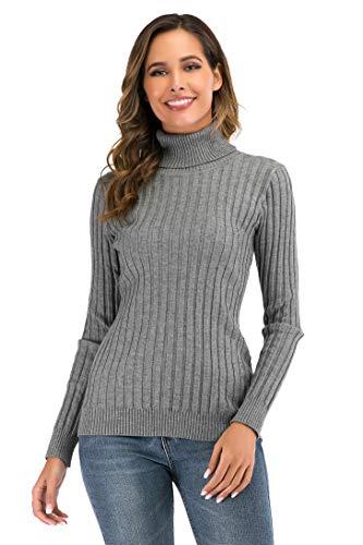 Suéter Cuello Alto para Mujer Pull-Over Tops Primavera Otoño Suéter de Punto Suéter de Invierno cálido y Elegante Suéter Elegante Calcetín Moderno Cuello Alto Alto Mujer Básico