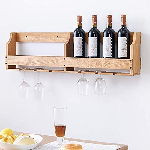 LZQBD Estantes de Vino, Estante de Vino Montado en la Pared, Estante de Vino con Soporte de Vidrio, Estante de Madera Colgada de Pared Dicor de Cocina,90 × 12 × 24.5Cm