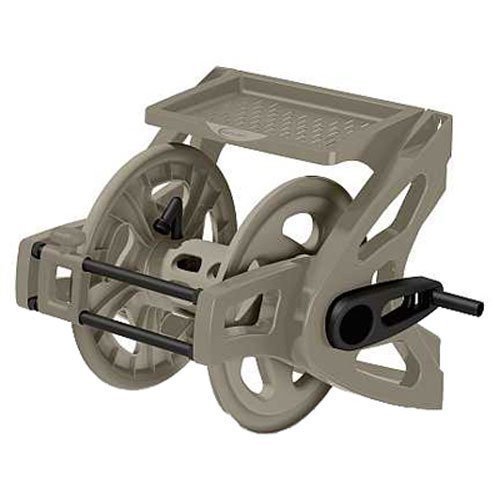 Suncast Resin Wall Mounted Hose Reel with Crank Handle and Storage Tray, Taupe