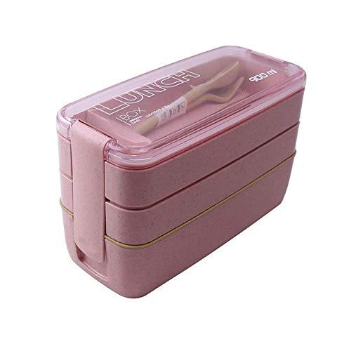Fiambrera El almuerzo Eco-Friendly Caja envase de alimento, paja de trigo, de materiales for microondas Vajilla Lunchbox, 900ml 3 Capas (Color : Pink)