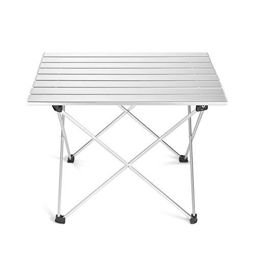 Supremery campingtafel camping klaptafel ultralight - 57x46X41cm aluminium tafel balkon opvouwbaar - balkon tafel bijzettafel klein in zilver lichtgrijs