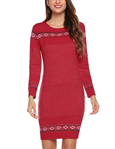 Abollria Damska sukienka z dzianiny, z norweskim wzorem, długość do kolan, Boże Narodzenie, sweter z okrągłym dekoltem, na Boże Narodzenie, jumper