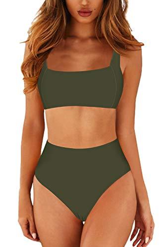 Viottiset Damen Push Up Bikini Oberteil Zweiteilige Gepolstert Badeanzug Set mit Quadratischer Kragen