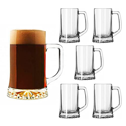 UNISHOP Set de 6 Jarras de Cerveza 0,5L, Jarras de Cristal de Medio Litro, Aptas para Lavavajillas