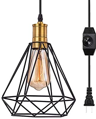 Plug in Pendant Light 1 Pack, Pynsseu Industrial Caged Hanging Light Plug in Pendant Light Fixture for Kitchen Bedroom, Black