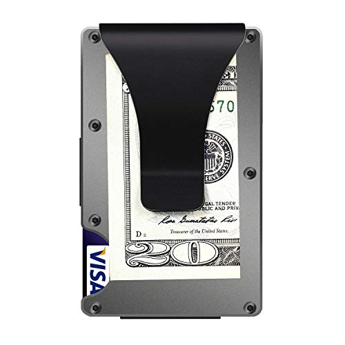 Aluminum Wallets for Men, LOOKISS RFID Minimalist Aluminum Wallet for Men, Money Clip Wallet Metal, Mens Slim Wallet Metal Card Holder (Grey)