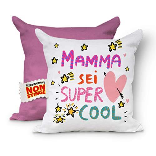 Cojín completo para el Día de la Madre. Funda de cojín con relleno. Cojines para sofá, cojín para mamá, regalo para madre, cojín decorativo, cojín 40 x 40 cm (Retro Rosa)