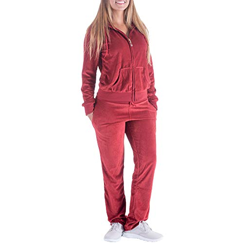 Cute 2 Piece Outfits for Women Joggers Two Gogging Suits Set Petite Plus Size Velour Tracksuit Zip Up Hoodie & Sweatpants with Pockets(Wine, XL)