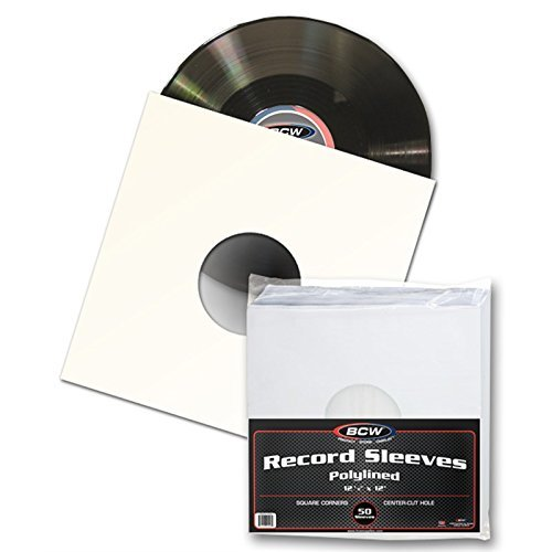 "50 BCW 12"" Paper & Plastic Polylined Record Inner Sleeves for LP Vinyl Record Albums"
