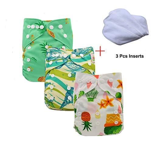 Ohbabyka Lot de 3 couches réutilisables unisexes pour bébé avec intérieur en tissu doux