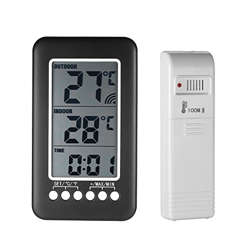 Thermomètre interieur exterieur sans fil,avec horloge Numérique station meteo sans fil avec capteur extérieur,Moniteur de Température Affichage LCD intelligent ° C / ° F