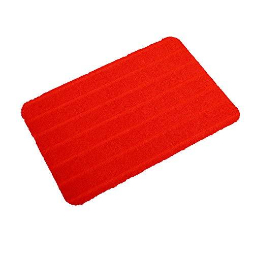YFYJ Felpudo Alfombra para Puerta Alfombrilla de Baño con Rayas Súper Absorbentes Antideslizante Alfombra Interior y Exterior para Puerta Principal Baño Cocina Dormitorio Rojo 800 * 1200mm