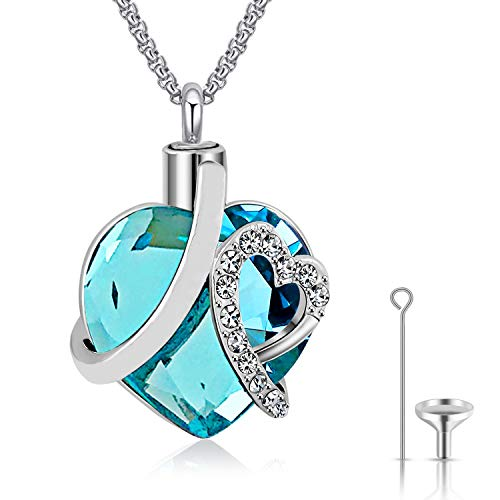 Urn Necklaces for Ashes Love Heart Blue Crystal Cremation Jewelry Keepsake Holder Memorial Necklace Pendant (Heart Urn Necklace)